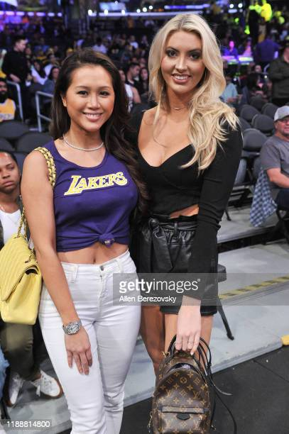 Kathryn Le and Heather Harper attend a basketball game between the Los Angeles Lakers and the Oklahoma City Thunder at Staples Center on November 19...