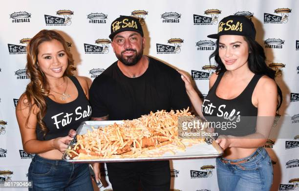Kathryn Le Joshua Stone and CJ Sparxx attends Fat Sal's Encino Grand Opening Party on October 15 2017 in Encino California