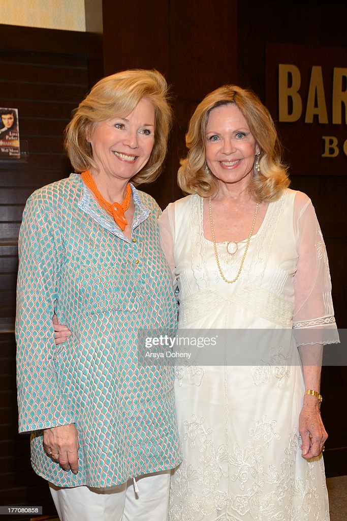 Kathryn Leigh Scott and Lara Parker attend Lara Parker's signing of her new book 'Dark Shadows: Wolf Moon Rising' at Barnes & Noble bookstore at The Grove on August 20, 2013 in Los Angeles, California.