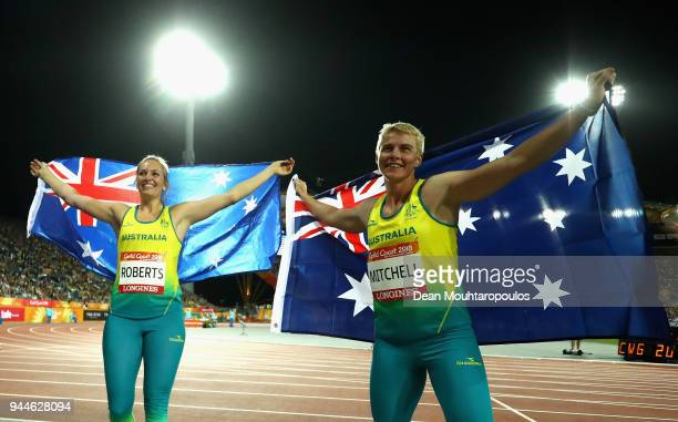 Kathryn Mitchell of Australia celebrates as she wins gold with silver medalist KelseyLee Roberts of Australia in the Women's Javelin final during...