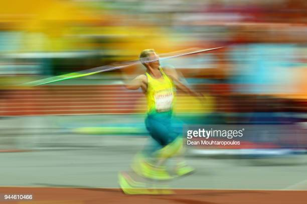 Kathryn Mitchell of Australia competes in the Women's Javelin final during athletics on day seven of the Gold Coast 2018 Commonwealth Games at...
