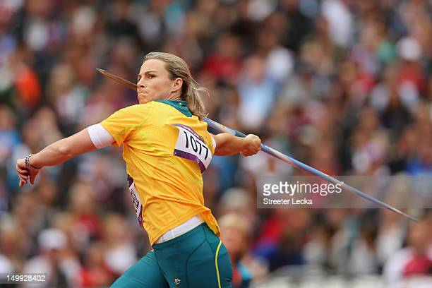 Kathryn Mitchell of Australia competes in the Women's Javelin Throw Qualification on Day 11 of the London 2012 Olympic Games at Olympic Stadium on...