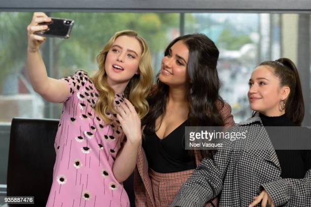 Kathryn Newton Geraldine Viswanathan and Gideon Adlon visit 'Extra' at Universal Studios Hollywood on March 21 2018 in Universal City California