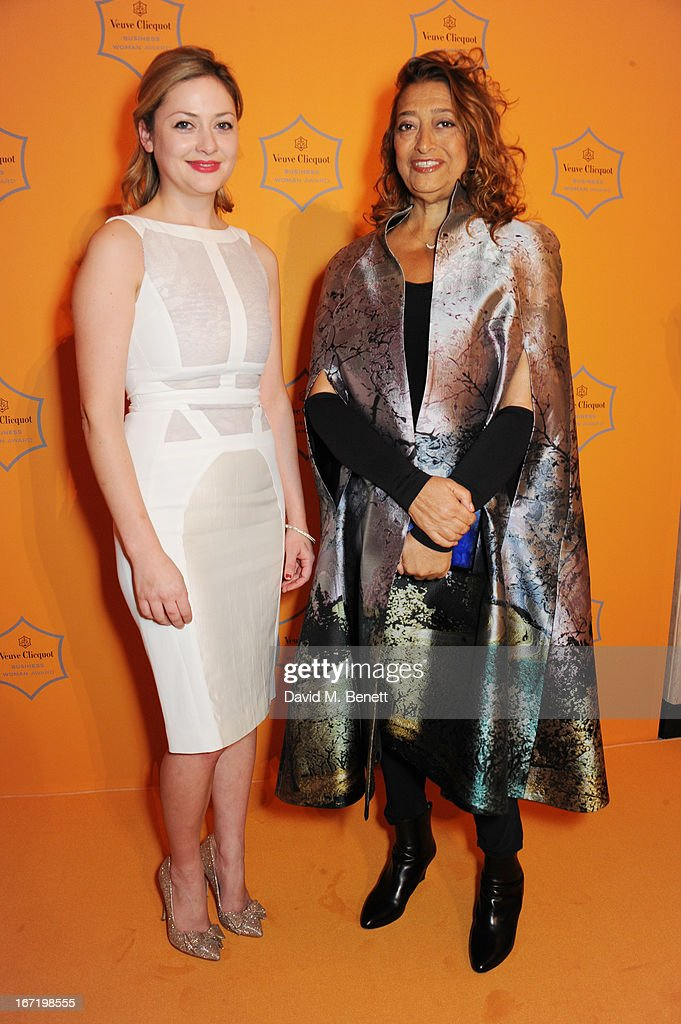 Kathryn Parsons, winner of the New Generation award, and Dame Zaha Hadid, winner of the Veuve Clicquot Business Woman Award 2013 attend the Veuve Clicquot Business Woman Award 2013 at Claridge's Hotel on April 22, 2013 in London, England.