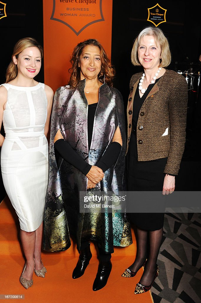 Kathryn Parsons, winner of the New Generation award, Dame Zaha Hadid, winner of the Veuve Clicquot Business Woman Award 2013 and Home Secretary Theresa May attend the Veuve Clicquot Business Woman Award 2013 at Claridge's Hotel on April 22, 2013 in London, England.