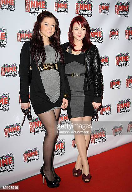Kathryn Prescott and Megan Prescott attend the Shockwaves NME Awards at O2 Academy Brixton on February 25 2009 in London England