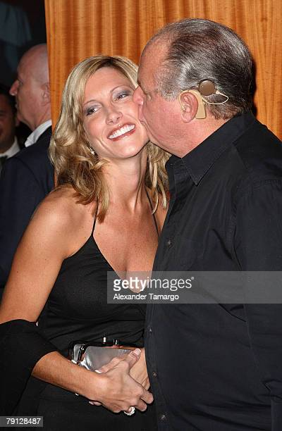 Kathryn Rogers and Rush Limbaugh arrive at the Ritz Carlton South Beach to attend the 2008 All Star Gala and Party to benefit the AROD Family...