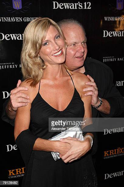 Kathryn Rogers and Rush Limbaugh arrive at the RitzCarlton South Beach to attend the 2008 All Star Gala and Party to benefit the AROD Family...