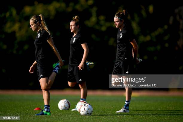 Kathryn Rood and Cecilia Salvai during a Juventus Women training session on October 12 2017 in Turin Italy