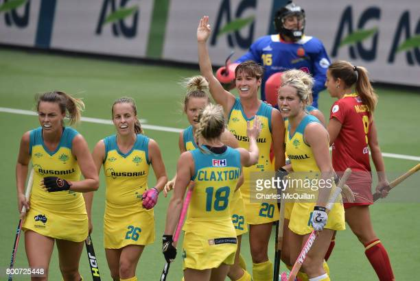 Kathryn Slattery of Australia celebrates after scoring the opening goal during the FINTRO Women's Hockey World League SemiFinal Pool B game between...
