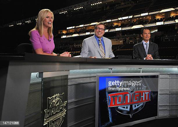 Kathryn Tappan EJ Hradek and Peter Loubardias of the NHL Network provide commentary prior to Round One of the 2012 NHL Draft at Consol Energy Center...