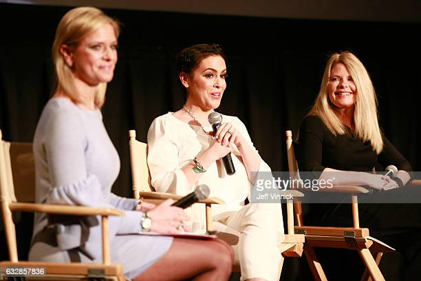 Kathryn Tappen, host, NBC Sports, Alyssa Milano, entrepreneur, actress, philanthropist & founder, Touch by Alyssa Milano, and Heidi Browning, Chief...