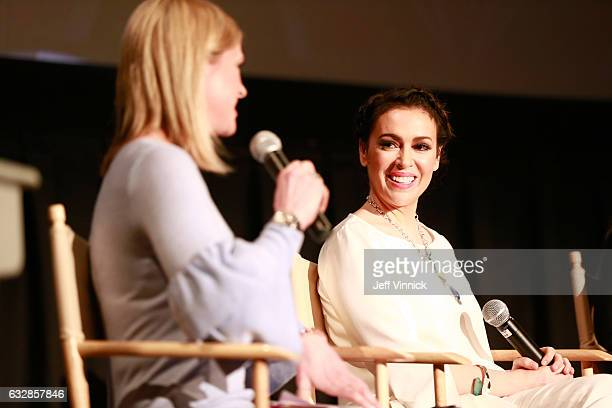 Kathryn Tappen host NBC Sports and Alyssa Milano entrepreneur actress philanthropist founder Touch by Alyssa Milano speak onstage at the Women In...