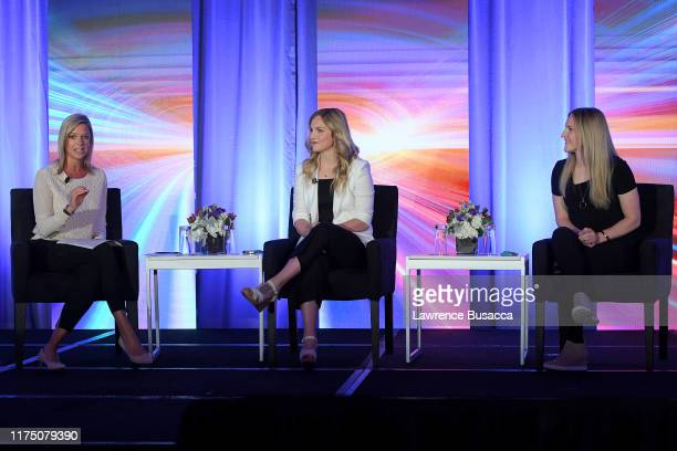Kathryn Tappen Jocelyne LamoureuxDavidson and Monique LamoureuxMorando speak onstage at WICT Leadership Conference And Touchstones Luncheon at The...