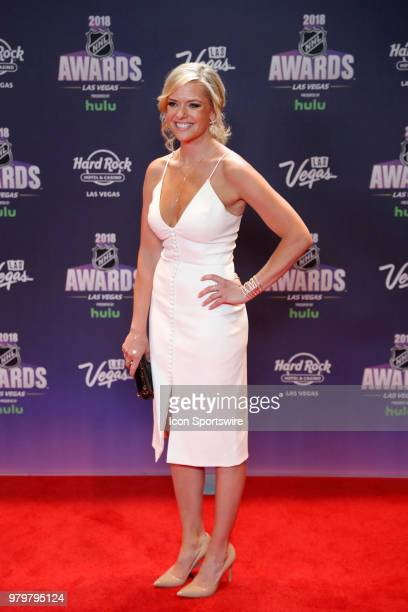 Kathryn Tappen NBC Sports reporter poses for photos on the red carpet during the 2018 NHL Awards presented by Hulu at The Joint Hard Rock Hotel...