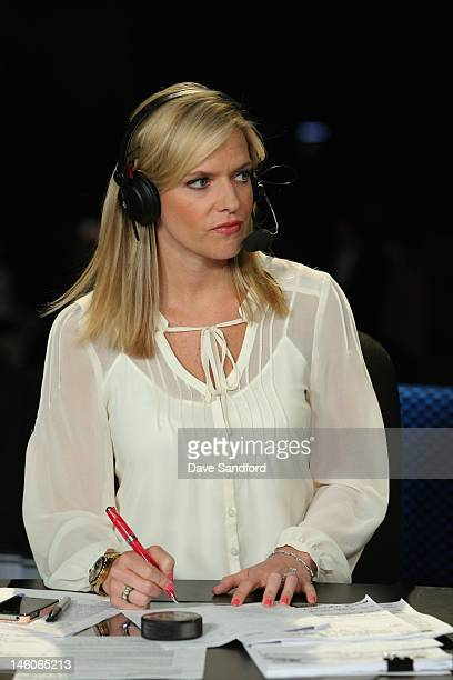 Kathryn Tappen of NHL Network discusses Game Four of the 2012 Stanley Cup Final at the Staples Center on June 6 2012 in Los Angeles California
