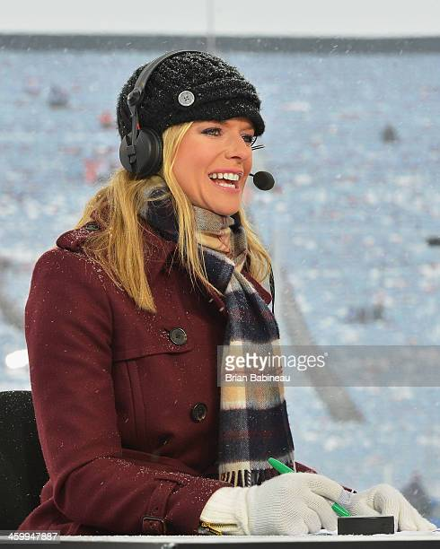 Kathryn Tappen of the NHL Network talks during the NHL Live pregame show during the 2014 Bridgestone NHL Winter Classic on January 1 2014 at Michigan...