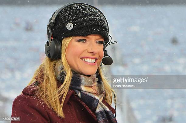Kathryn Tappen of the NHL Network talks during the NHL Live pre-game show during the 2014 Bridgestone NHL Winter Classic on January 1, 2014 at...