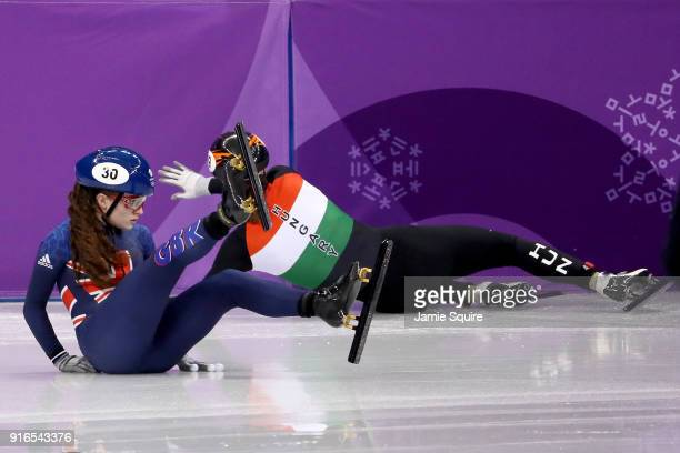 Kathryn Thomson of Great Britain crashes during the Ladies' 500m Short Track Speed Skating qualifying on day one of the PyeongChang 2018 Winter...
