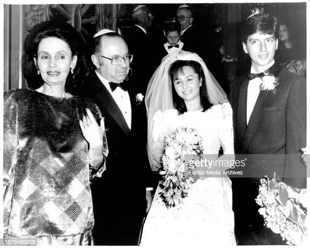 Kathy and Greg Shand with Larry Adler at their wedding at the great Synagoue Elizabeth St City May 31 1987
