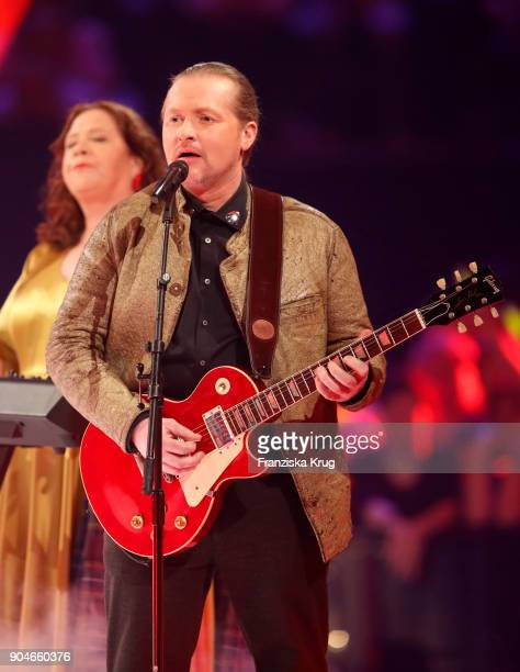 Kathy Ann Kelly and Joey Kelly perform during the 'Schlagerchampions Das grosse Fest der Besten' TV Show at Velodrom on January 13 2018 in Berlin...