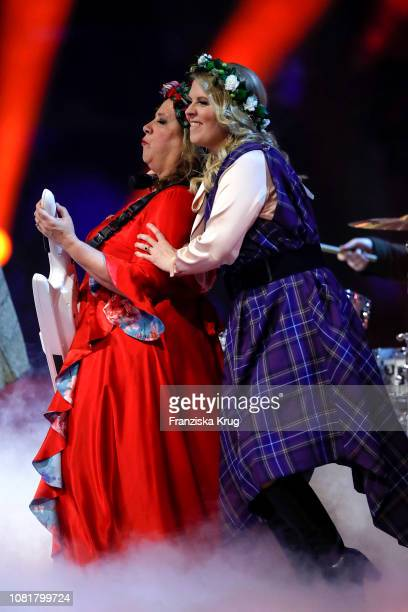 Kathy Ann Kelly and Maria Patricia Kelly during the television show 'Schlagerchampions Das grosse Fest der Besten' at Velodrom on January 12 2019 in...