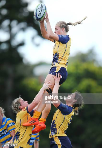 Kathy Baker of Bond University wins the Lineout during the Aon Uni 7s match between Bond University and University of Sydney on September 22 2018 in...