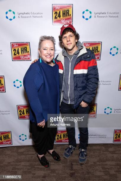 Kathy Bates and Jesse Eisenberg attend The 24 Hour Plays Broadway Gala at Laura Pels Theatre at the Harold Miriam Steinberg Center for on November 18...