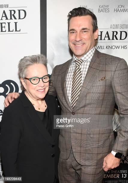 Kathy Bates and Jon Hamm attend Richard Jewell Atlanta screening at Rialto Center for the Arts on December 10 2019 in Atlanta< Georgia