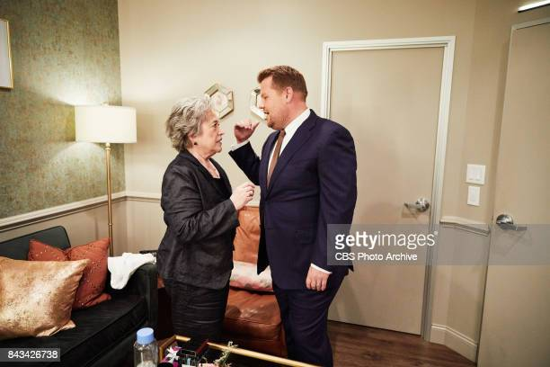 Kathy Bates chats in the green room with James Corden during 'The Late Late Show with James Corden' Tuesday September 5 2017 On The CBS Television...