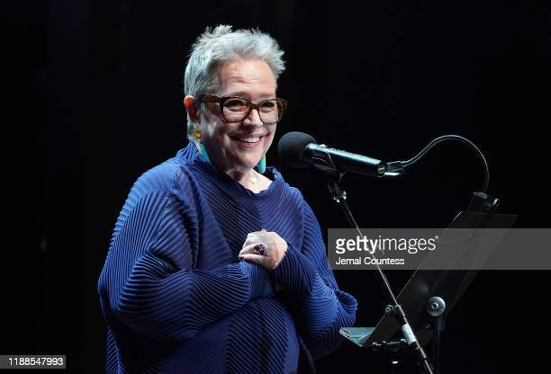 Kathy Bates delivers remarks during the the 19th Annual The 24 Hour Plays Broadway Gala Honoring Kathy Bates on November 18 2019 in New York City