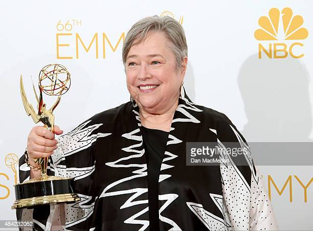 Kathy Bates poses in the photo room with her award for Outstanding Supporting Actress in a Miniseries or Movie for 'American Horror Story' at Nokia...