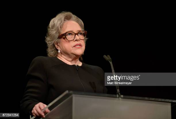 Kathy Bates speaks onstage at the SAGAFTRA Foundation Patron of the Artists Awards 2017 at the Wallis Annenberg Center for the Performing Arts on...
