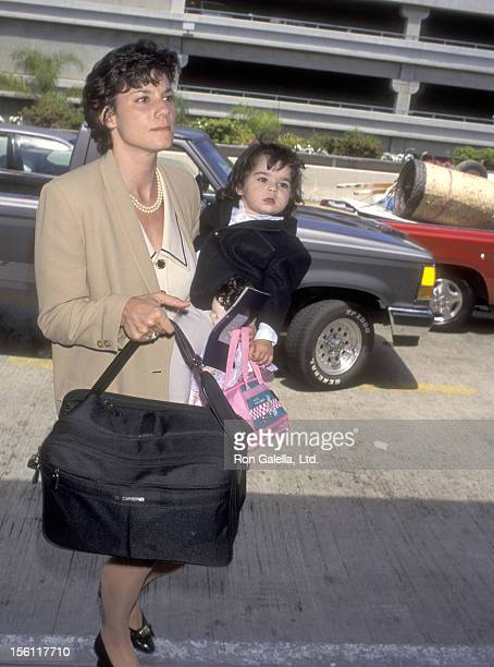 Kathy Benvin and daughter Antonia Quinn on April 28 1995 departing from the Los Angeles International Airport in Los Angeles California