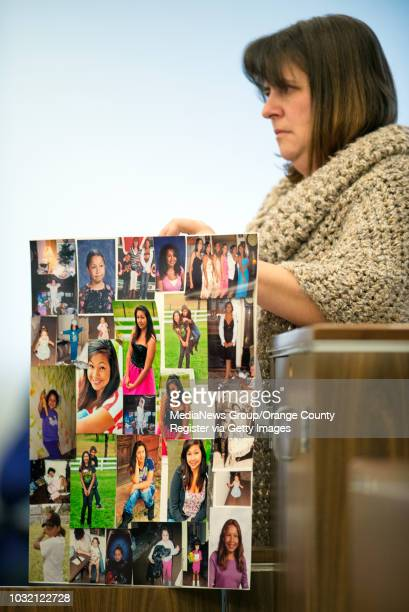 Kathy Branson mother of murder victim Kianna Jackson holds pictures of her during victim impact statements at the sentencing of Steven Gordon in...