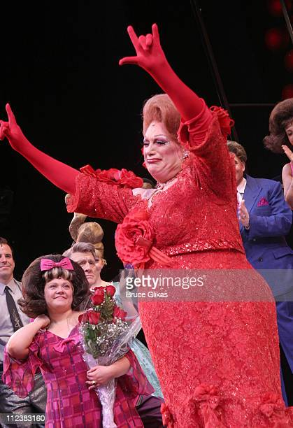 """Kathy Brier and Harvey Fierstein during Final Broadway Performance of Harvey Fierstein and Kathy Brier in """"Hairspray"""" at The Neil Simon Theatre in..."""