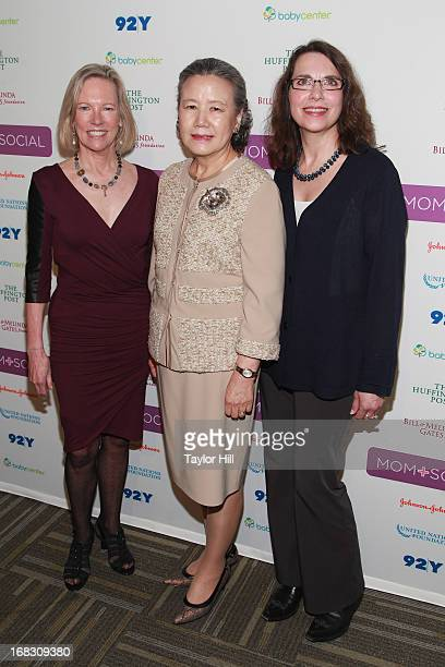 Kathy Calvin Mrs Ban Soontaek and Sharon D'Agostino attend the Mom Social Event at the 92Y Tribeca on May 8 2013 in New York City