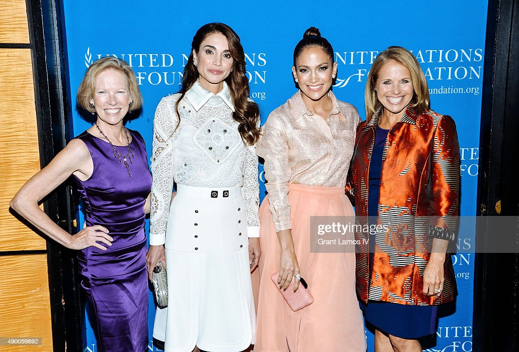 Kathy Calvin, President and CEO, UN Foundation, Queen Rania of Jordan, Jennifer Lopez and Katie Couric attend the UN Foundation's Gender Equality Discussion at The Four Seasons Restaurant on September 25, 2015 in New York City.