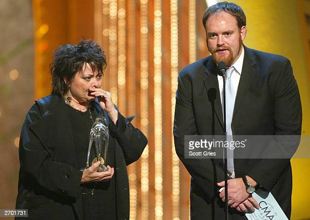 Kathy Cash and John Carter Cash daughter and son of Johnny Cash accepts an award for Best Video of the Year on behalf of their late father at the the...
