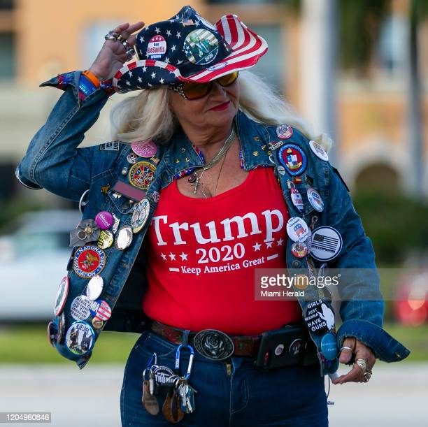 Kathy Clark a Republican activist gathers outside the Palm Beach County Convention Center in West Palm Beach Fla on Tuesday March 3 before Democratic...