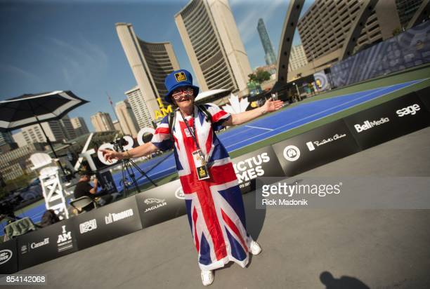 Kathy Corrigan, of England, wears her national pride while at Nathan Phillips Square, in front of Toronto City Hall, where the venue for wheelchair...