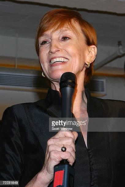 Kathy Eldon speaks during the Dan Eldon Photo Exhibit at The Xchange on October 20 2006 in New York City