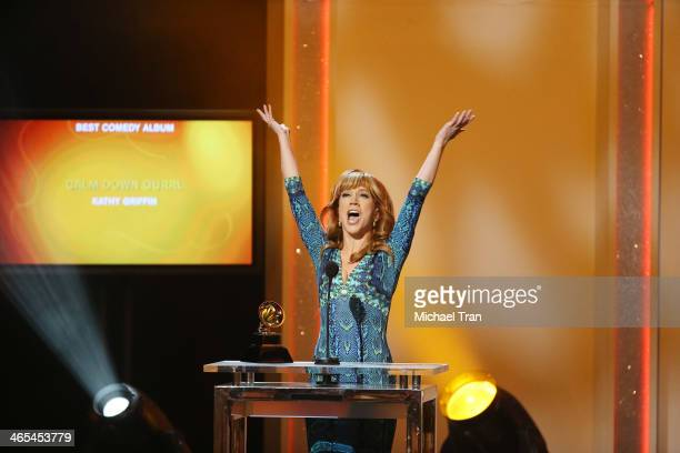 Kathy Griffin accepts the Best Comedy Album award for 'Calm Down Gurrl' onstage during the 56th GRAMMY Awards held at Staples Center on January 26...