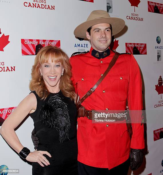 Kathy Griffin and a Canadian Mountie attend the premiere of 'Being Canadian' at Crest Westwood on September 17 2015 in Westwood California