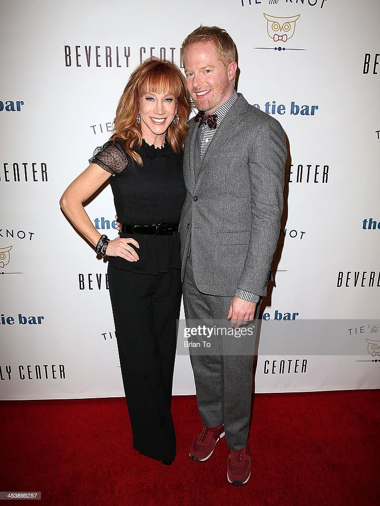 Kathy Griffin and actor Jesse Tyler Ferguson attend Tie The Knot Pop-Up Store at The Beverly Center on December 5, 2013 in Los Angeles, California.