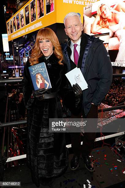 Kathy Griffin and Anderson Cooper host CNN's 'New Year's Eve Live' at Times Square on December 31 2016 in New York City