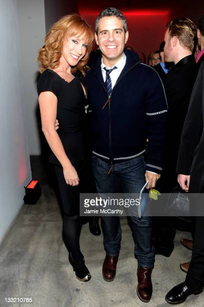 Kathy Griffin and Andy Cohen attend the OUT celebration of The OUT100 at Skylight Soho on November 17 2011 in New York City