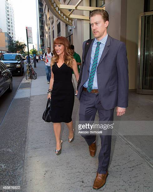 Kathy Griffin and boyfriend Randy Bick are seen leaving Huffington Post Live on August 20 2014 in New York City