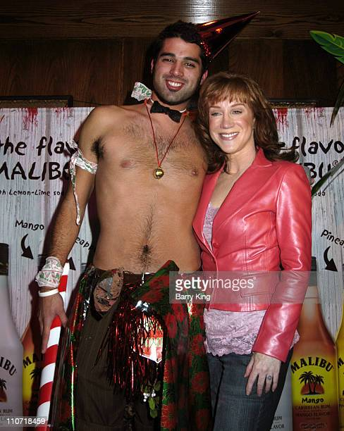 Kathy Griffin and contest winner during Kathy Griffin Hosts Holiday SelfDecorating Bash with Malibu Rum November 29 2005 at Pig 'N Whistle in...