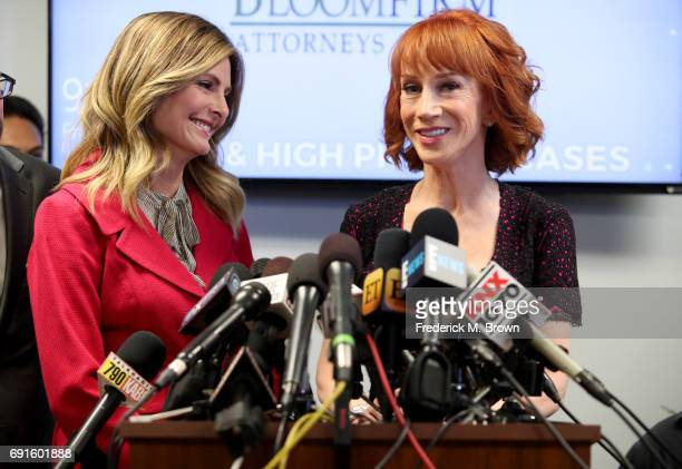 Kathy Griffin and her attorney Lisa Bloom speak during a press conference at The Bloom Firm on June 2 2017 in Woodland Hills California Griffin is...
